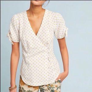 Maeve by Anthropologie Yello Polka Dot Wrap Shirt